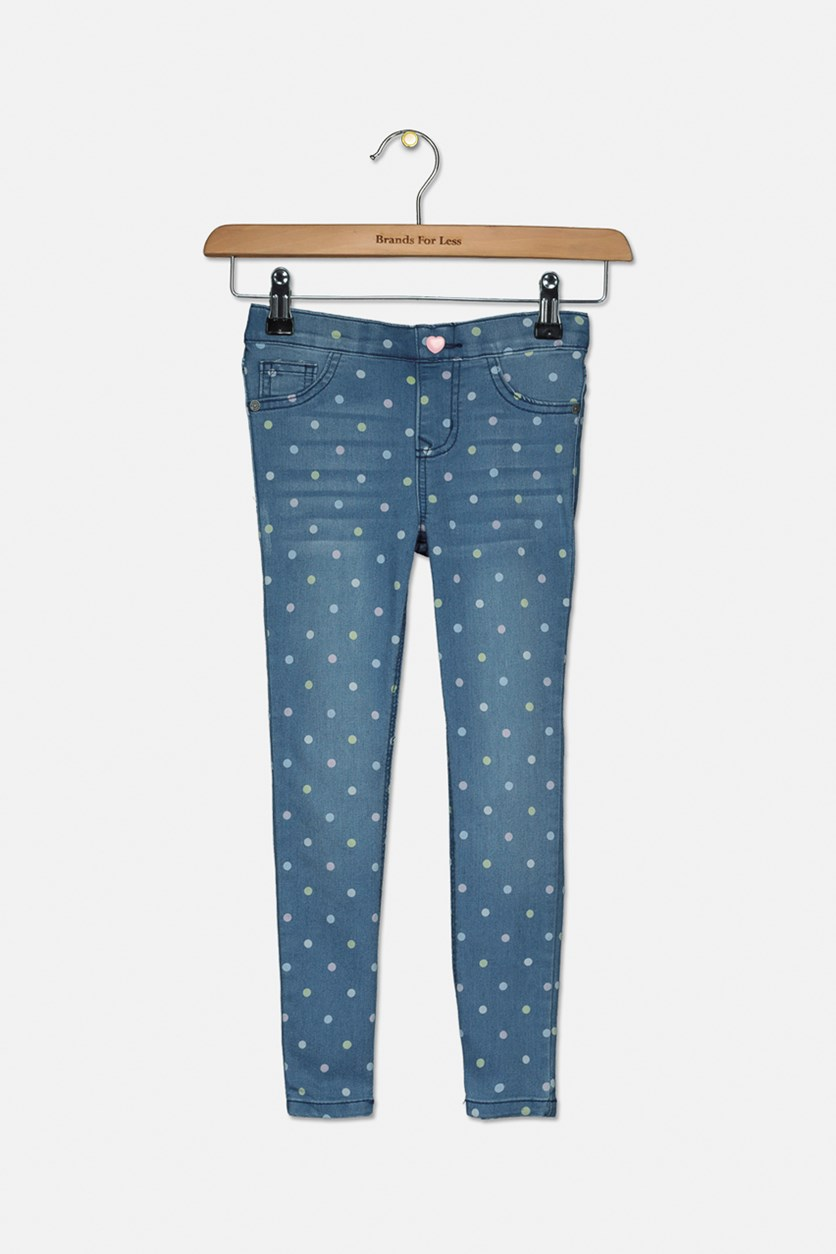 Kids Girls Polka Dots Jeans, Sand Wash