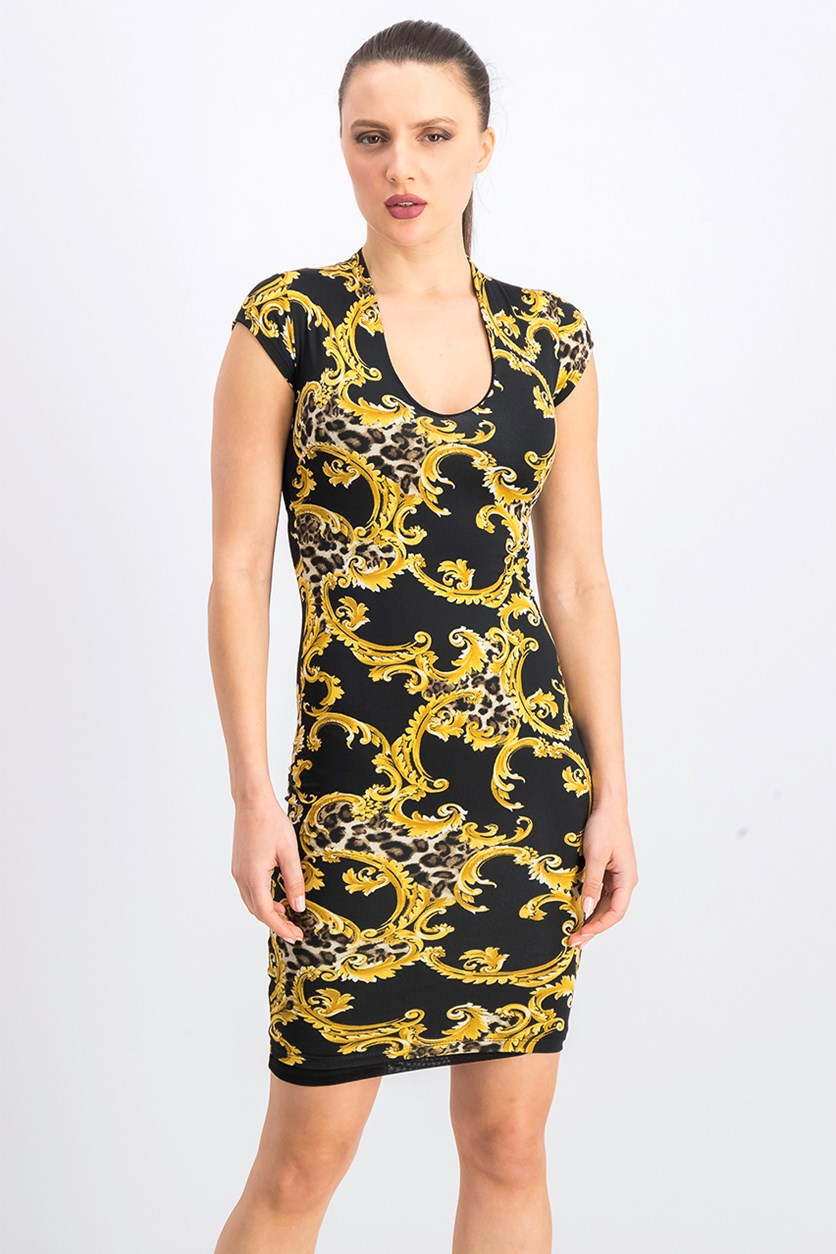 Women's Cap Sleeves Bodycon Dress, Black/Gold