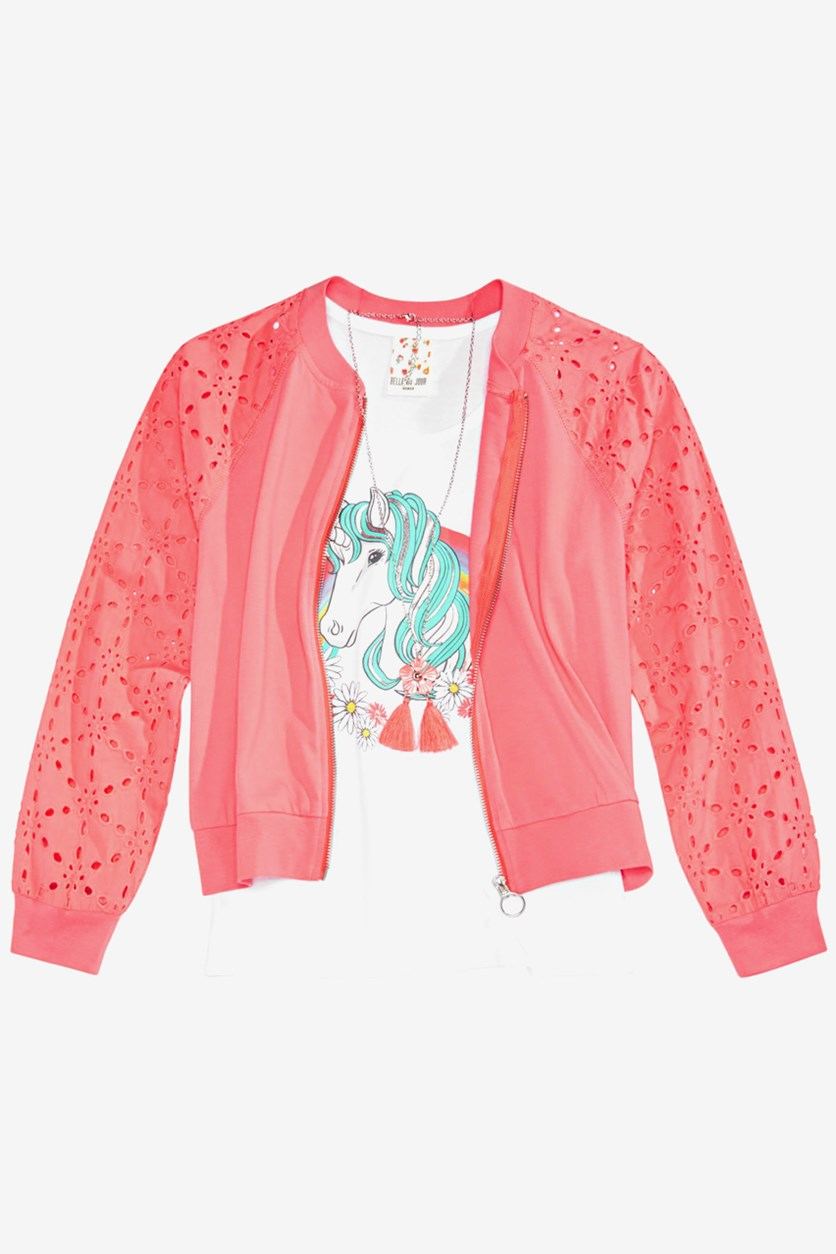 Big Girls 3-Pc. Eyelet Bomber Jacket, Mega Coral