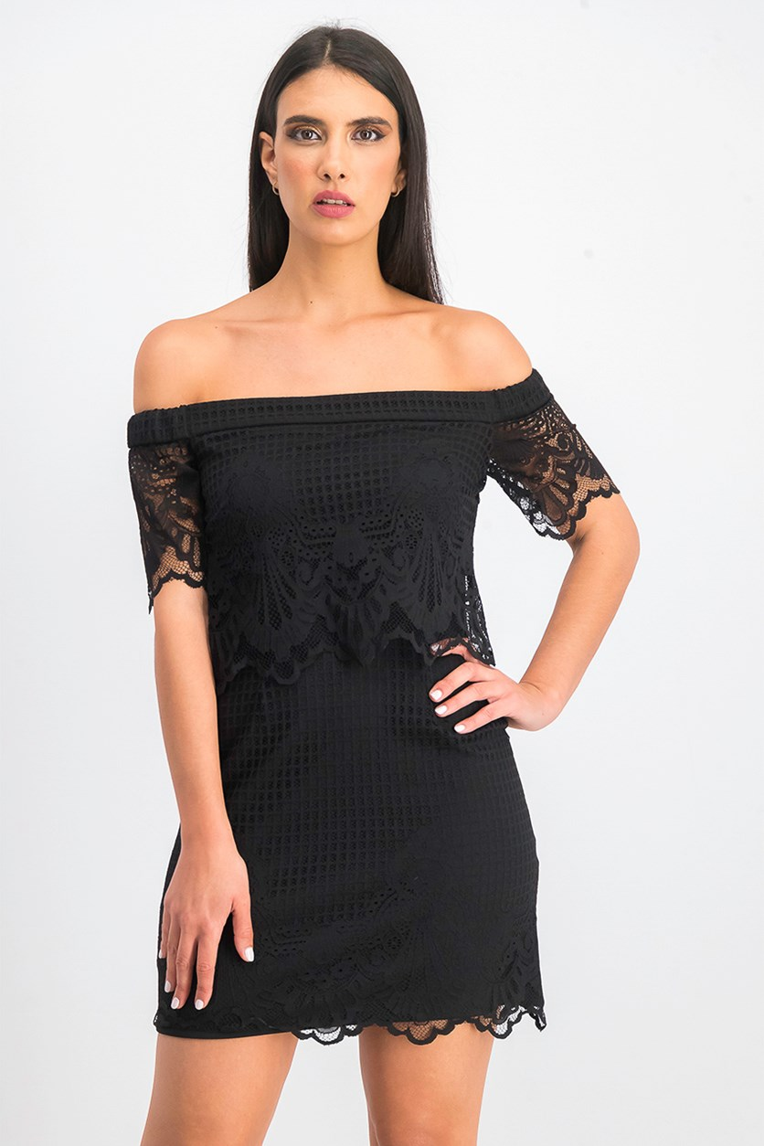 Womens Off Shoulder Lace Dress, Black