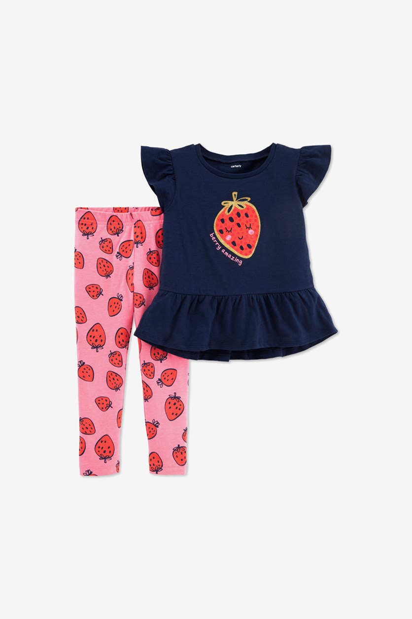 Baby Girls Strawberry Peplum Top & Printed Leggings Set, Navy