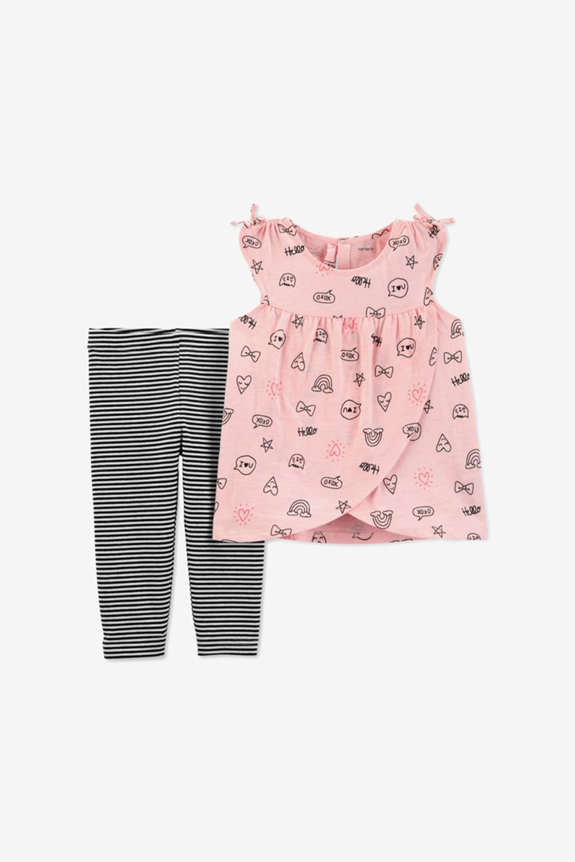 Baby Girls 2-Pc Printed Tunic & Striped Leggings Set, Pink/Black