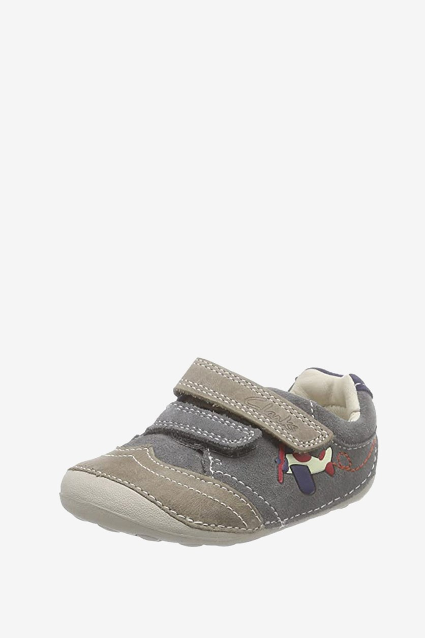 Toddler's Boys Tiny Liam Leather Shoes, Gray Combo