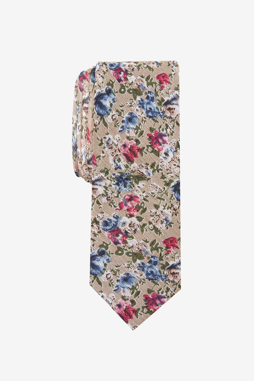 Men's Robyn Skinny Floral Tie, Taupe
