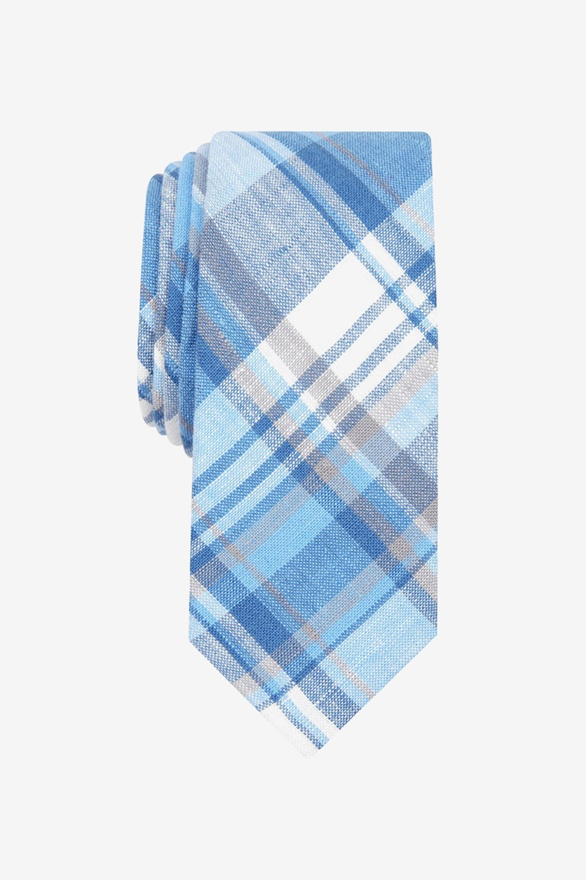Men's Hanna Plaid Skinny Linen Tie, Navy Blue