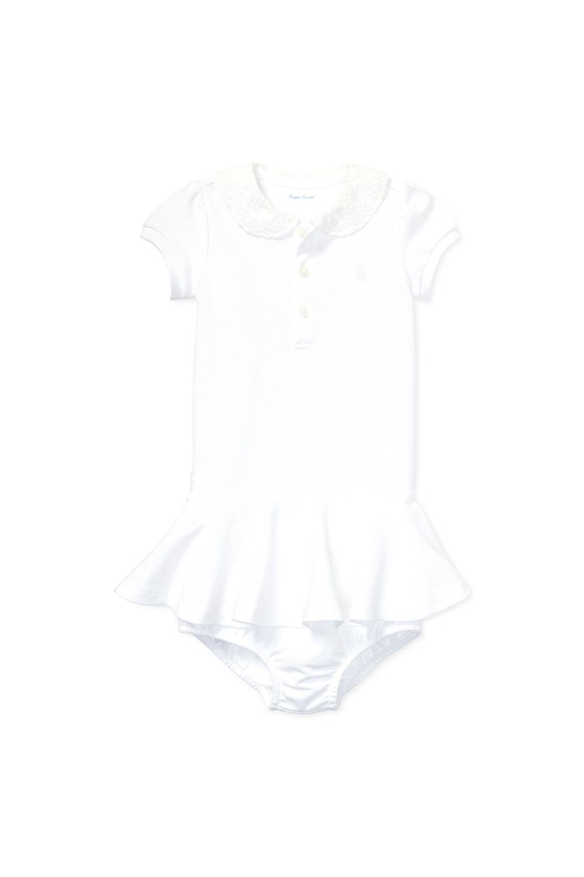 Baby Girls Cotton Embroidered Dress, White