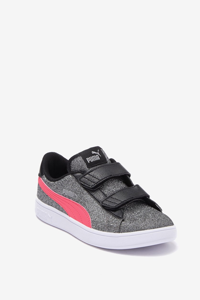 Girls Smash V2 Glitz Glam Sneaker, Black/Coral/Silver