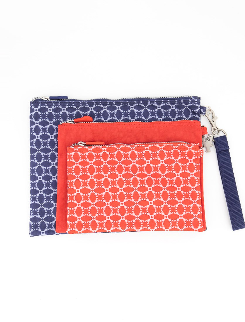 3 Printed Pouch, Blue/Red