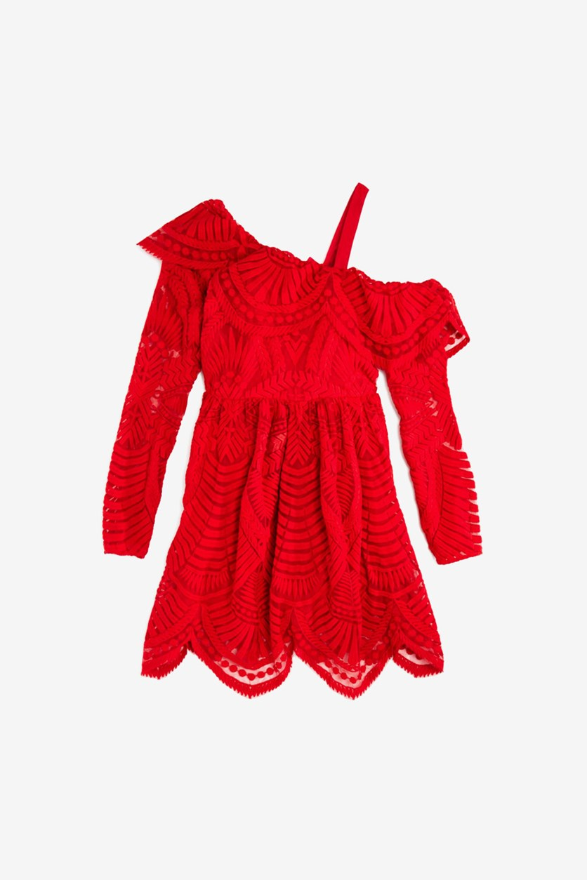 Kids Girl's Junior Sybil Lace Dress, Red