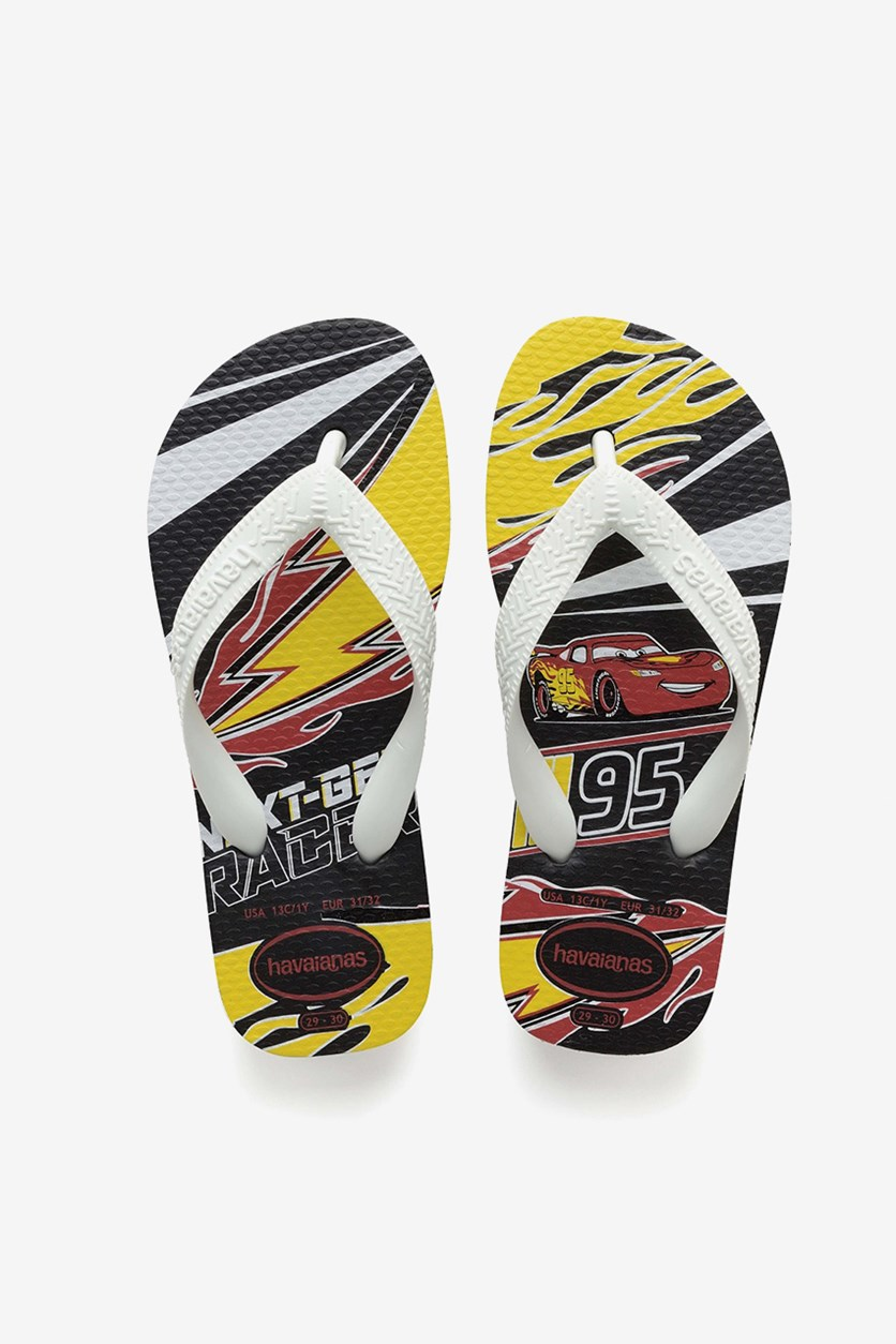 Kids Boys Cars Flip Flops, Black/White