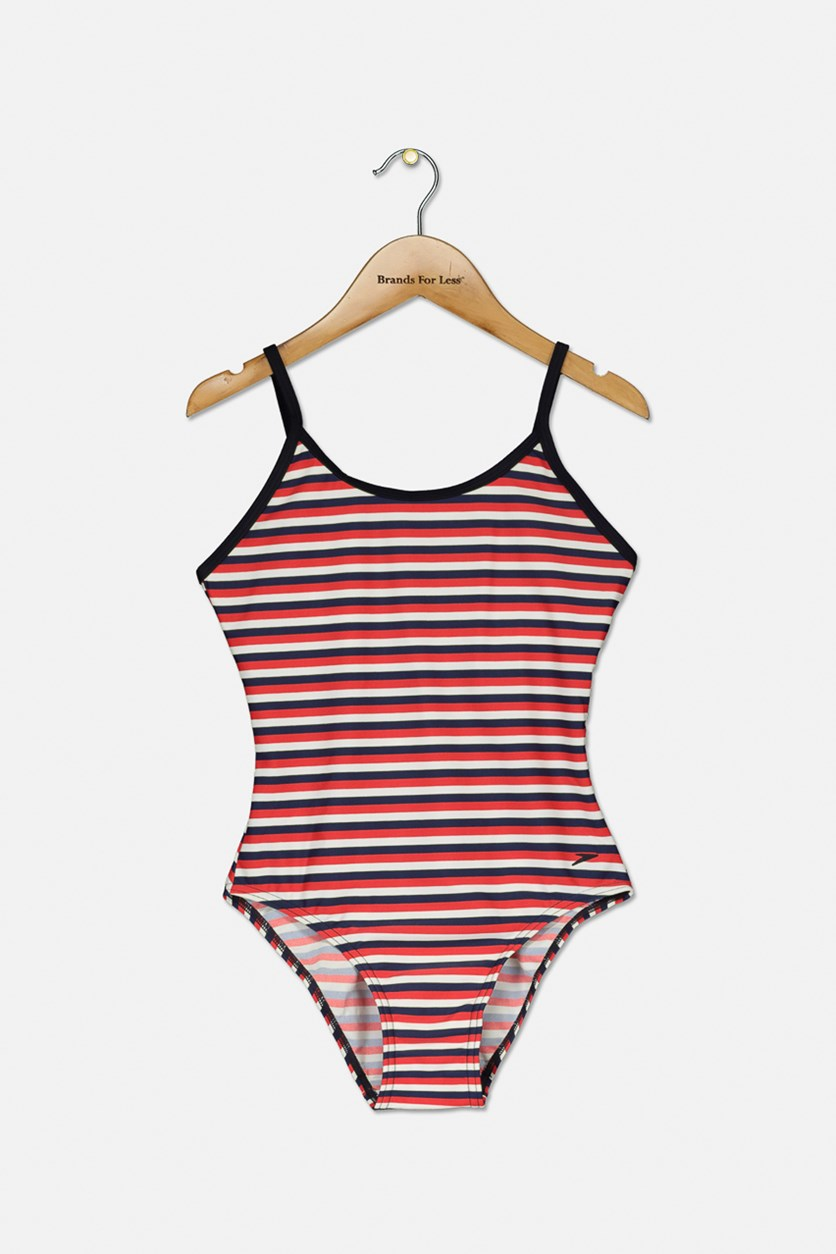 Girl's Striped Scoop-Back Swimsuit, Navy/Red/White