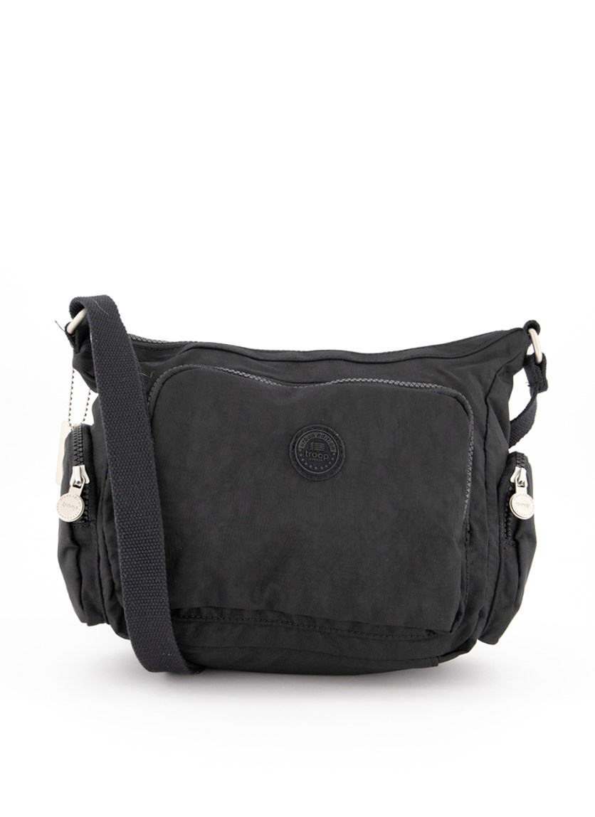 Women's Crinkle Nylon Crossbody Bag, Black