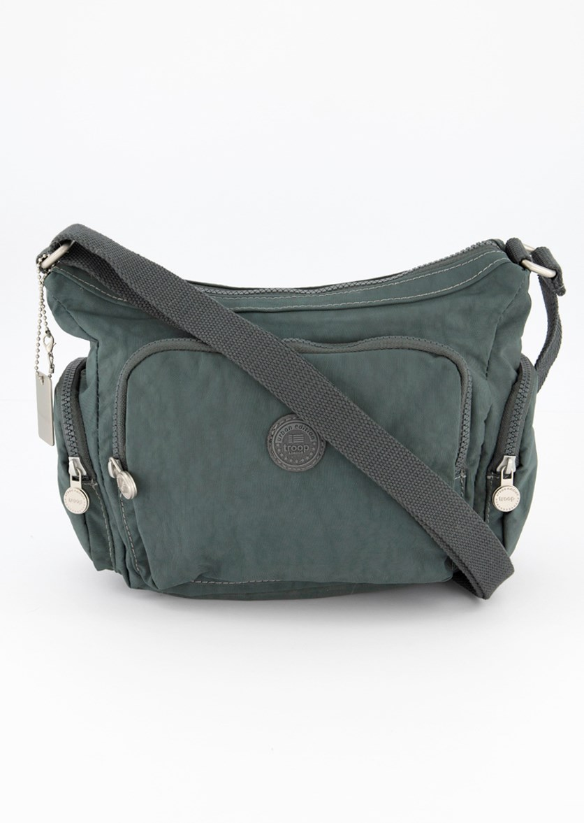 Women's Crinkle Nylon Crossbody Bag, Grey/Green