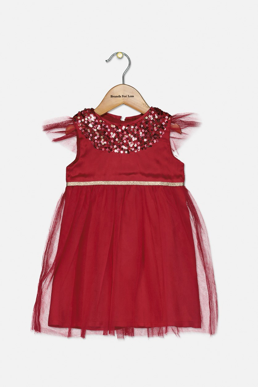 Toddlers Occasion Dress, Fuchsia Red