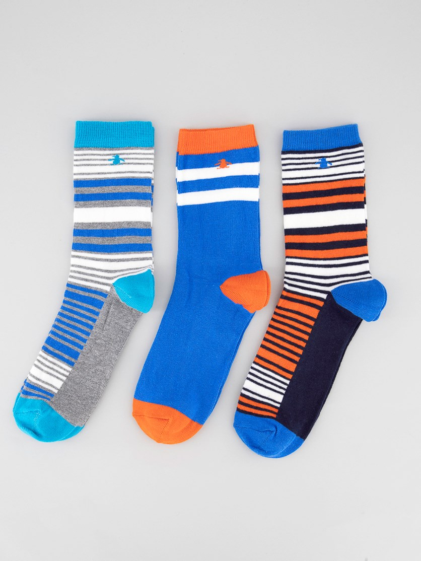Kids Boys 3 Pack Stripe Print Socks, Turquoise/Orange/Blue