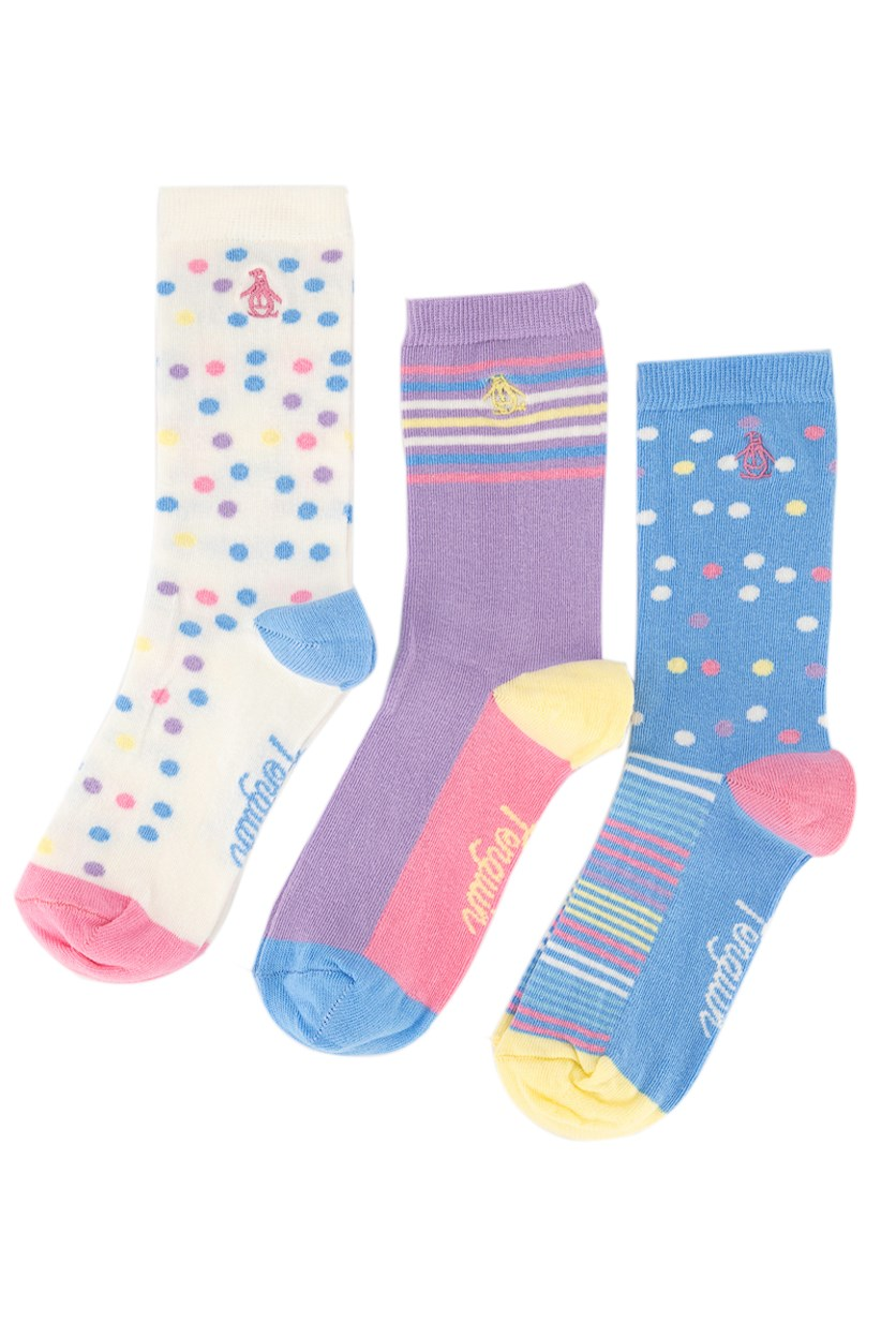 Women's Polka And Stripes 3 Pack Socks, White/Lavender/Pink Combo