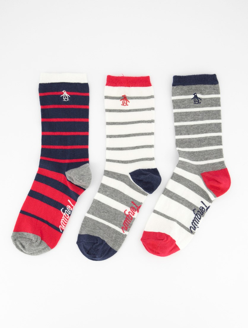 Ladies 3 Pack Ombre Stripe Sock's, White/Grey/Navy/Red