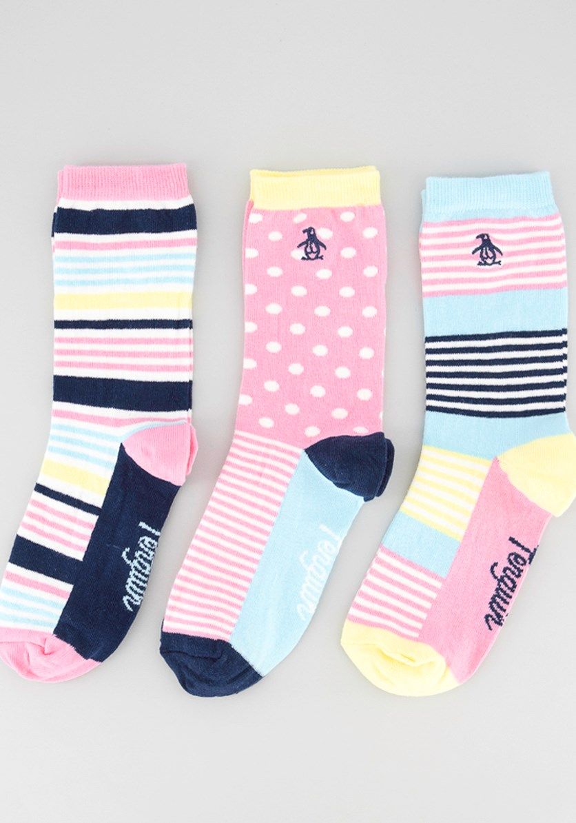 Women's 3 Pack Socks, Pink/Yellow Combo