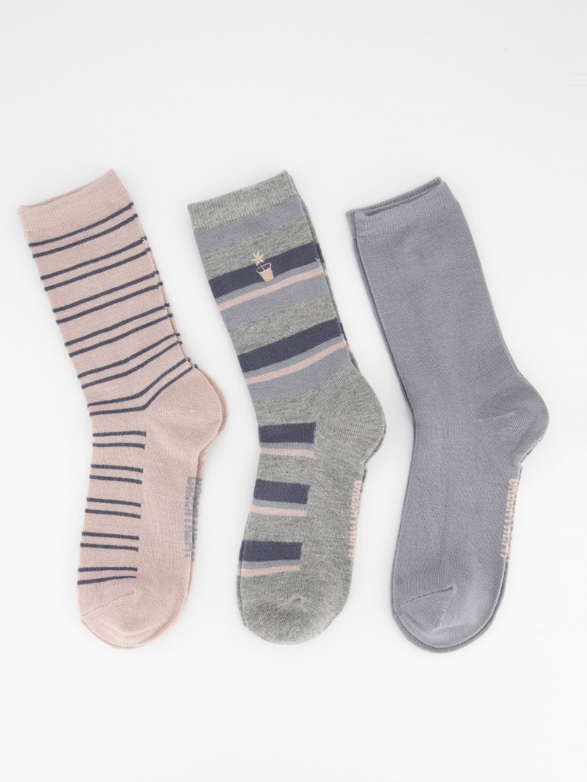 Womens 3 Pack Super Soft Socks, Grey/Pink