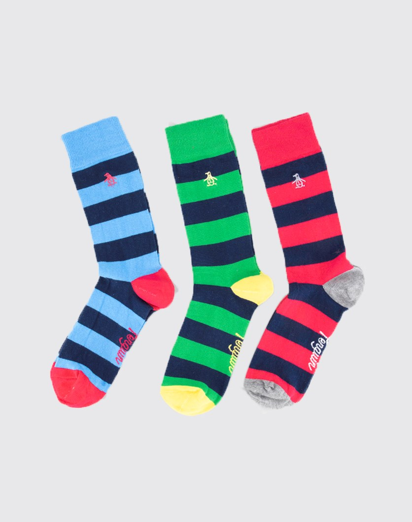 Men's 3 Pack Stripe Socks, Blue/Green/Pink