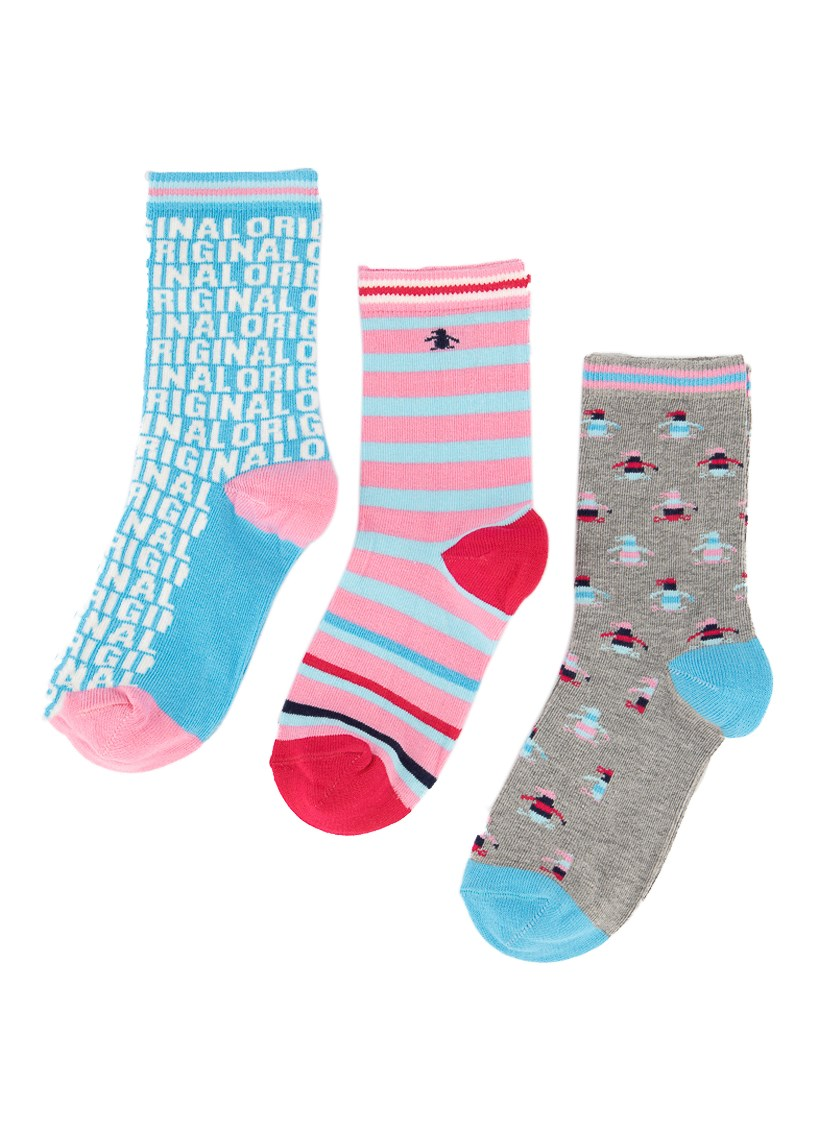 Kids Girls 3 Pack Socks, Light Blue/Dark Pink/Pink