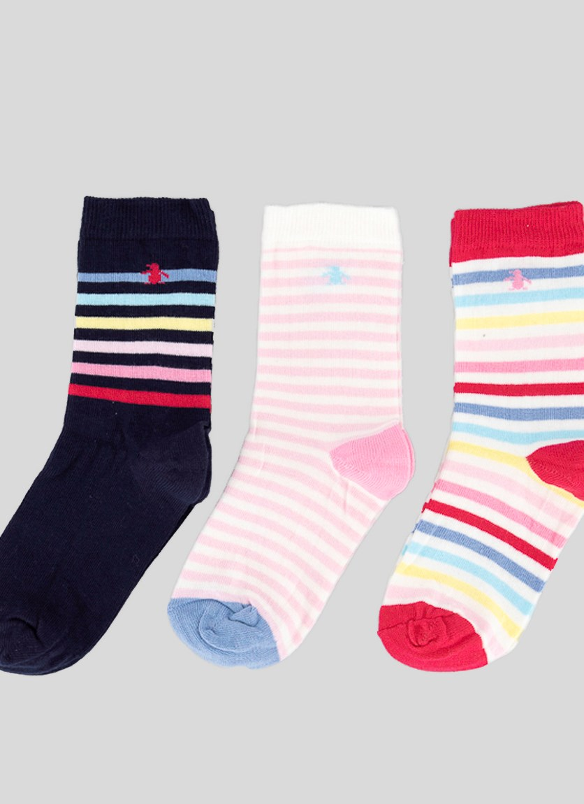 Kids Girls 3 Pack Stripe Socks, Navy/Pink/Dark Pink
