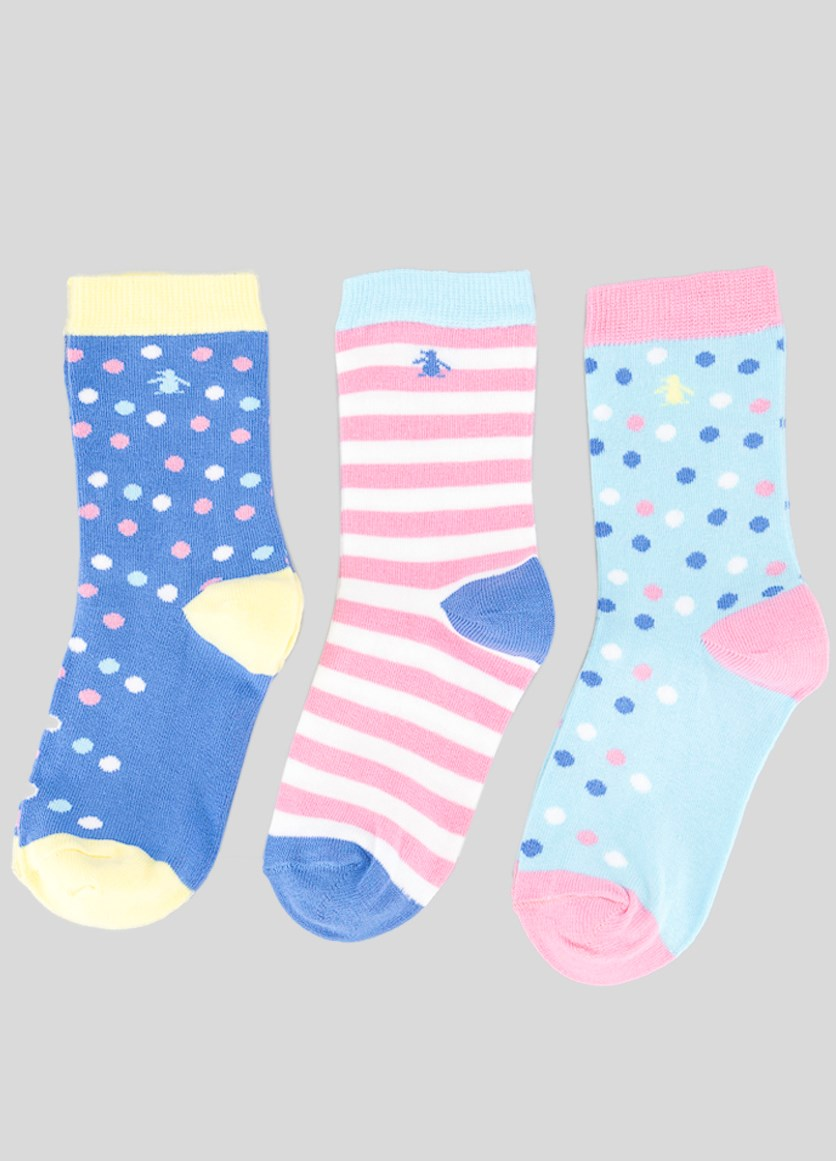 Kids Girls 3 Pack Polka Dot Socks, Pink/Blue/Yellow