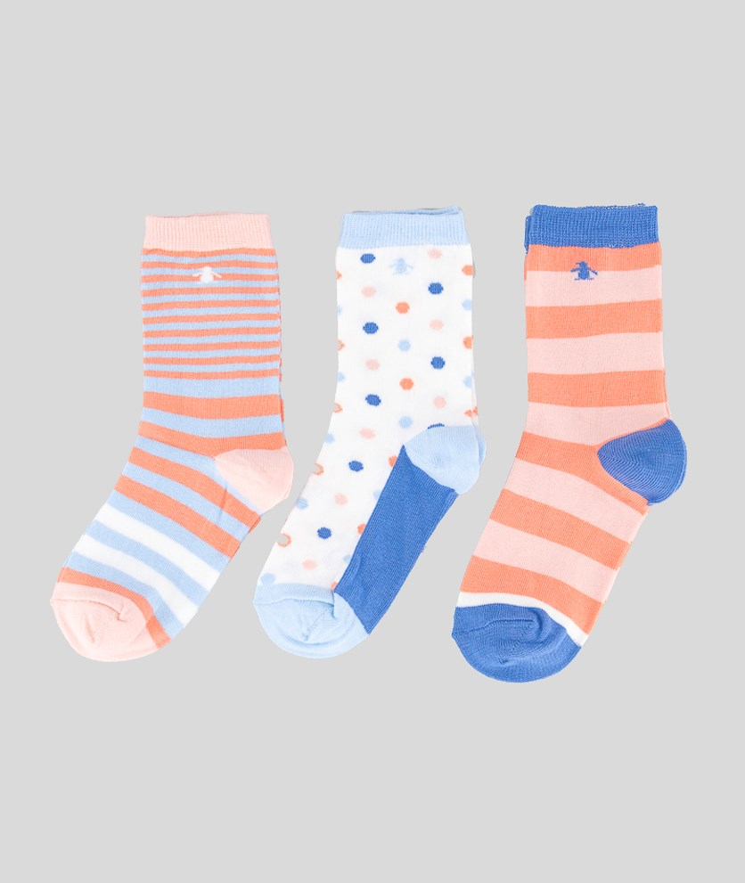 Kids Girls 3 Pack Socks, Blue/Light Blue/Peach
