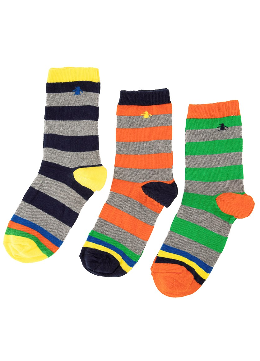 Kids Boys 3 Pack Stripe Print Socks, Yellow/Navy/Orange