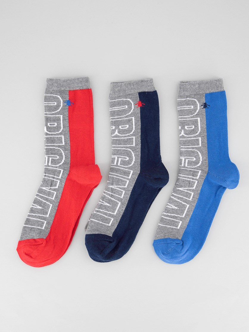 Kids Boys 3 Pack Graphic Print Socks, Navy/Blue/Red