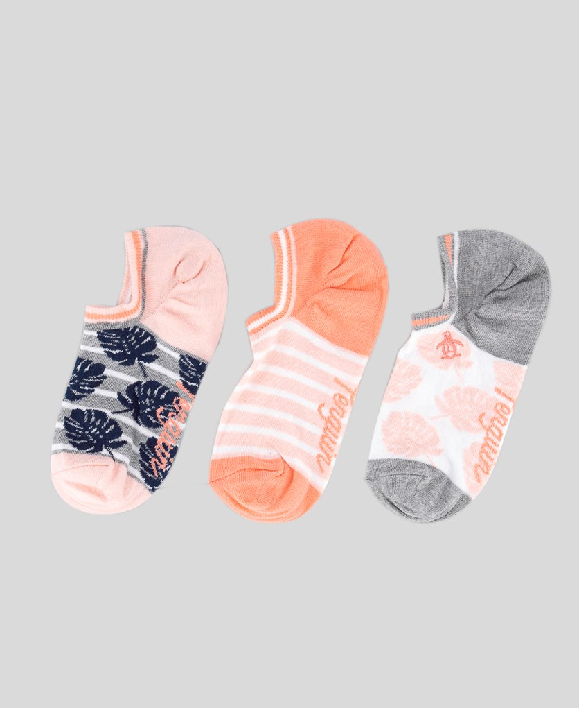 Women's 3 Pack Low Cut Trainer Socks, Pink/Gray Combo