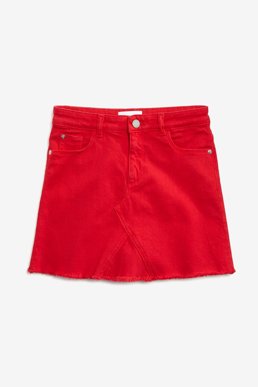 Kids Girls' Frayed Denim Skirt, Red