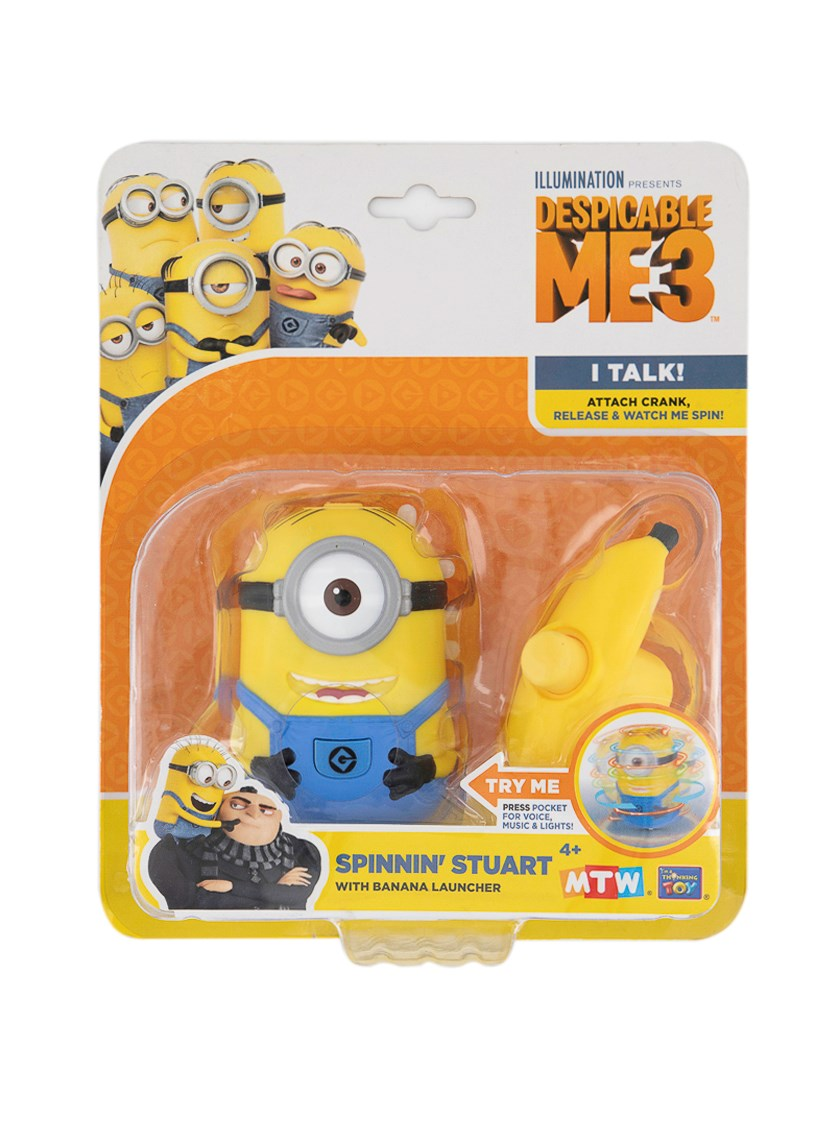 Despicable Me 3 Spinning Stuart  With Banana Launcher, Yellow/Blue