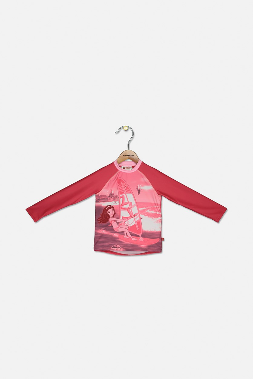 Kids Girls Tanya 421 Long Sleeve Rash Guard, Pink Combo