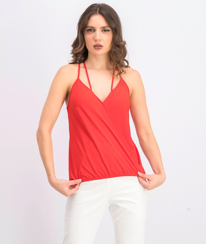 Womens Surplice Blouse, Red