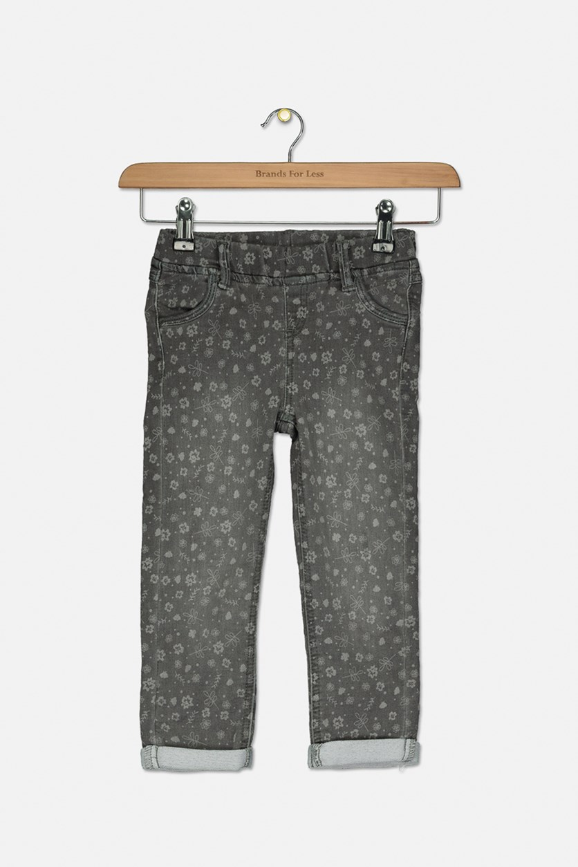 Toddler Girls Floral Print Pants, Wash Grey