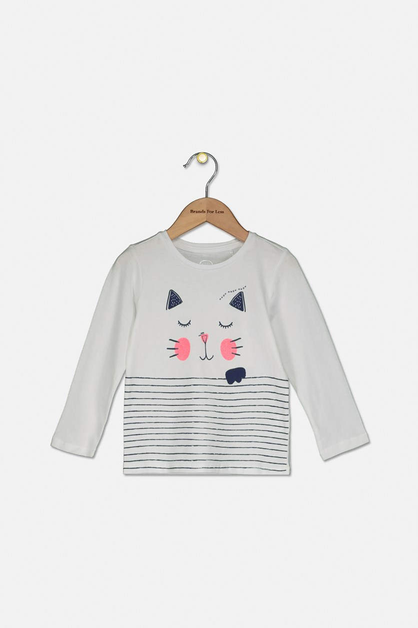 Kids Long Sleeve Striped Cat Print Tee, White/Navy
