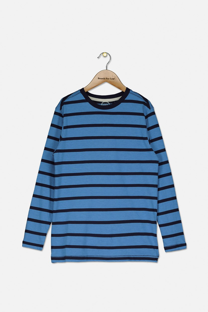 Kids Boys Stripe Long Sleeves Shirt, Blue/Navy