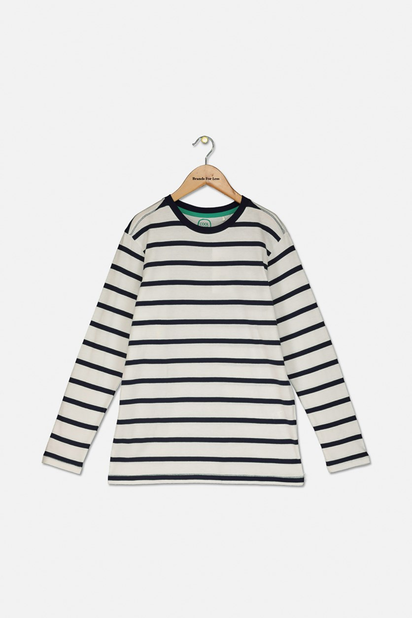 Kids Boys Striped Crew Neck T-shirt, Navy/White