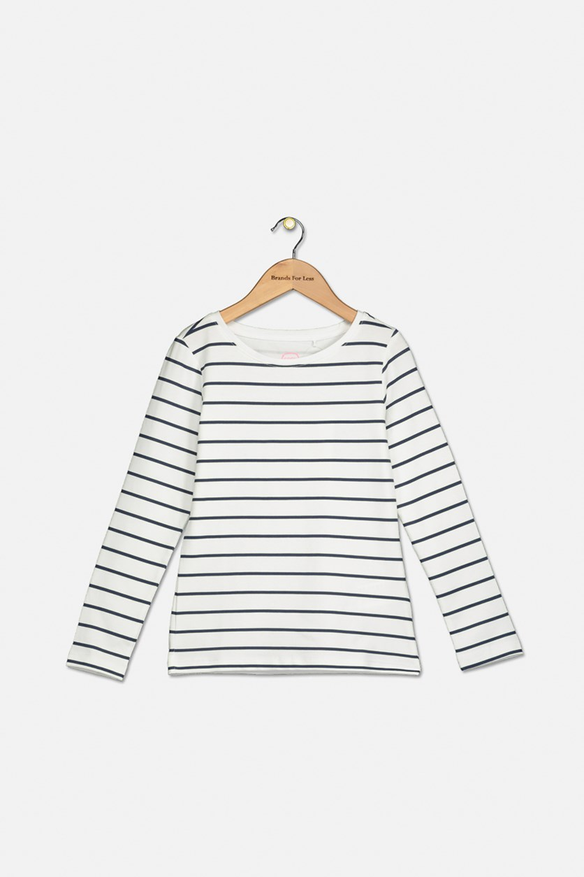 Toddler Boy's Long Sleeve Stripe T-Shirt, White/Navy