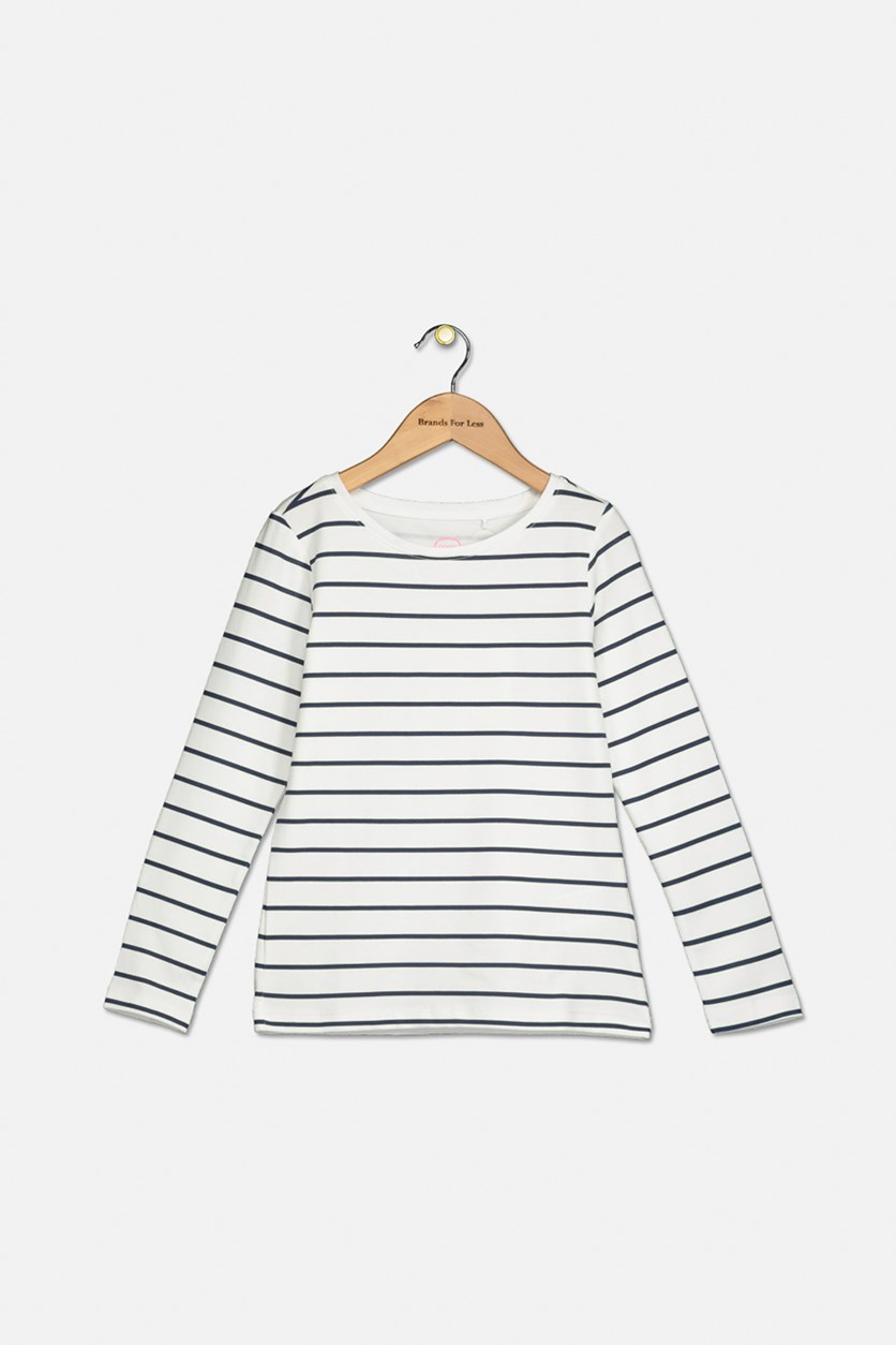 Boy's Long Sleeve Stripe T-Shirt, White/Navy