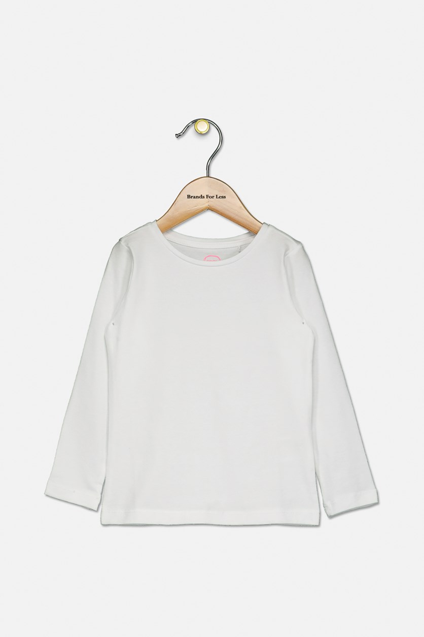 Toddlers Girls Plain Top, White