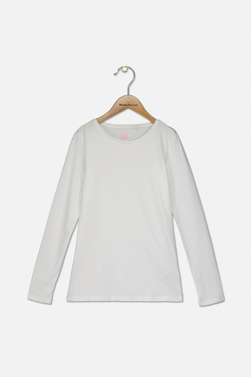 Kids Girls Long Sleeve Plain Top, White