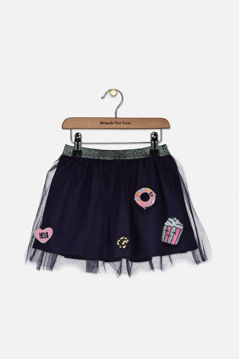 Kids Girl's Patched Skirt, Navy Combo