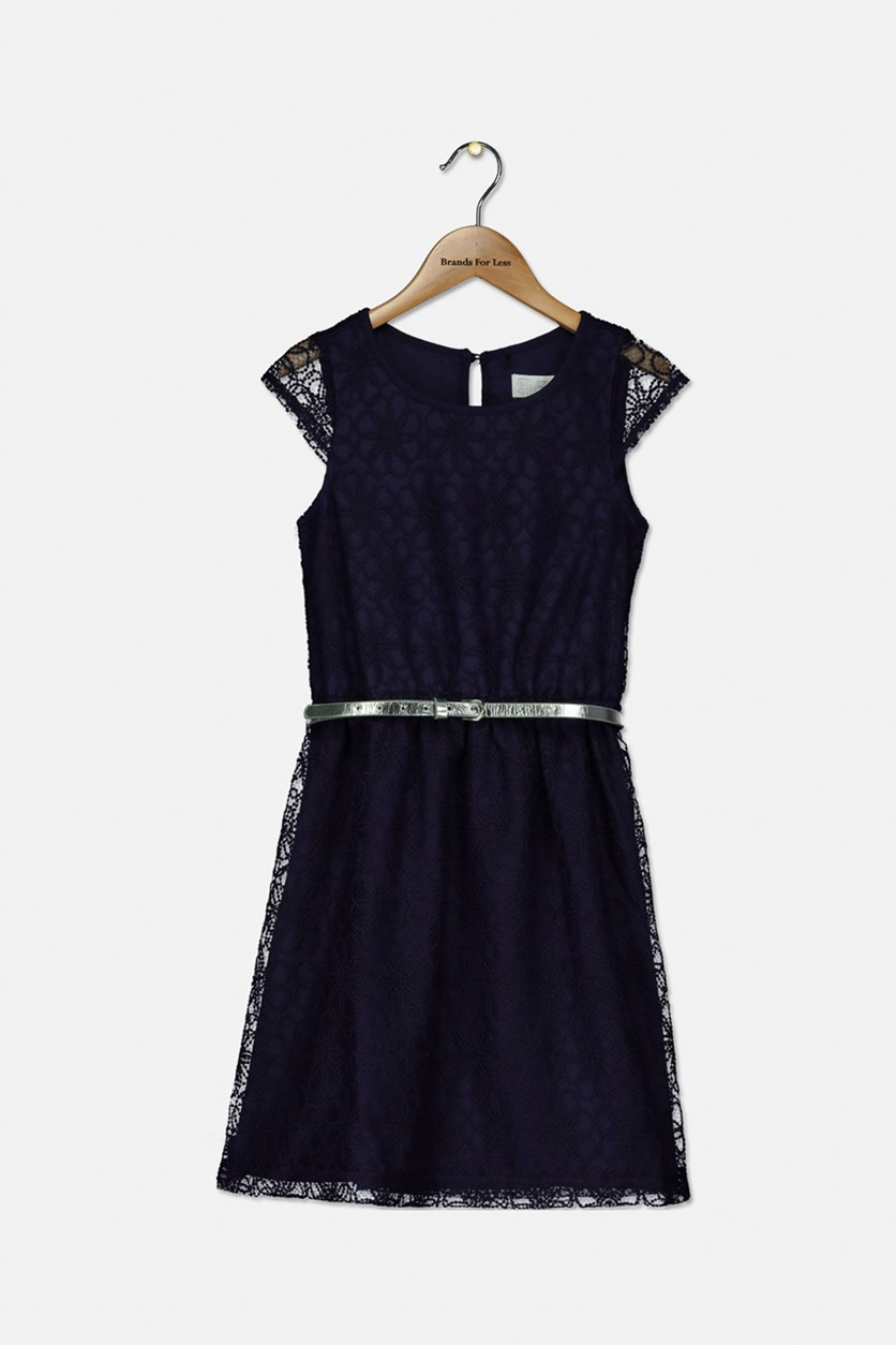 Girl's Sleeveless With Belt Dress, Navy