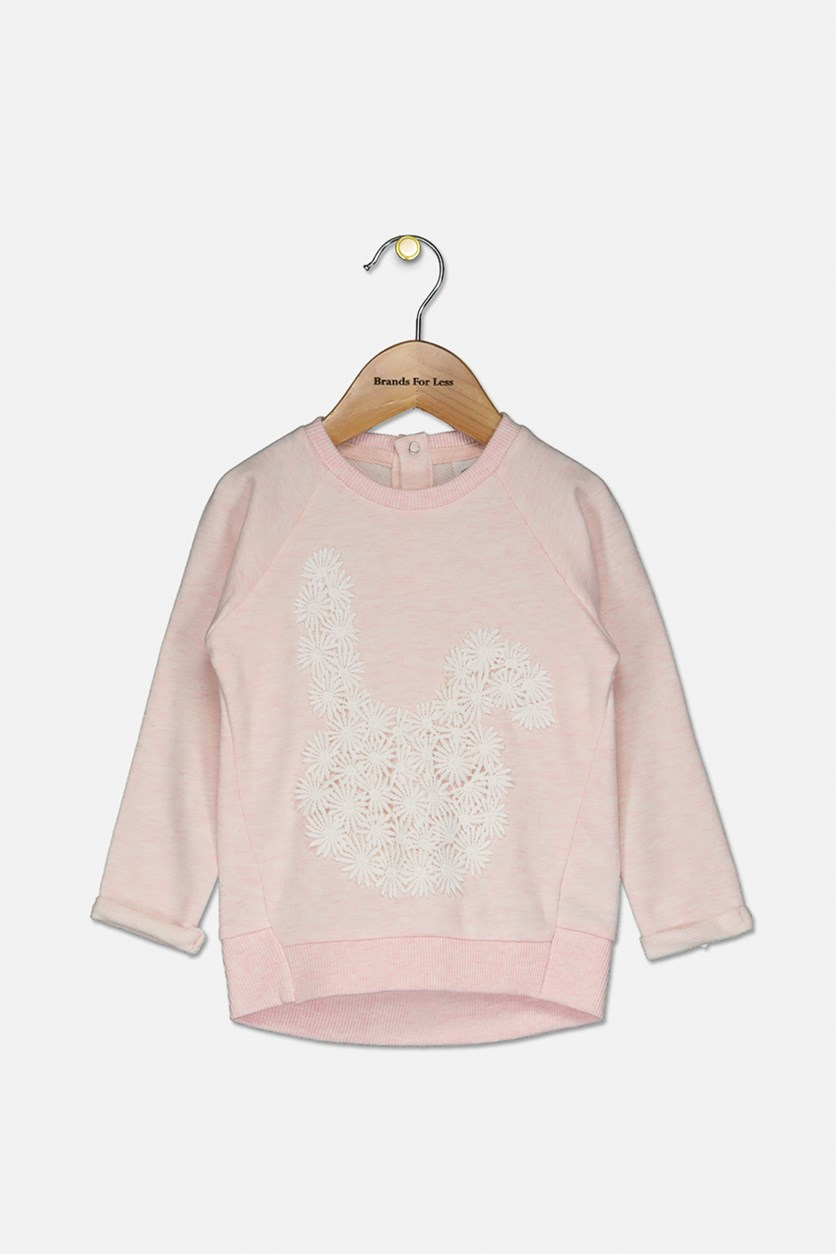 Toddler Girl's Embroidered Sweatshirt, Pink/White