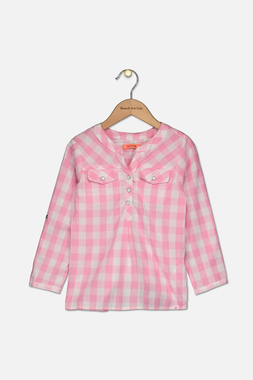 Kids Girls Plaid Long Sleeve Top, Pink/White