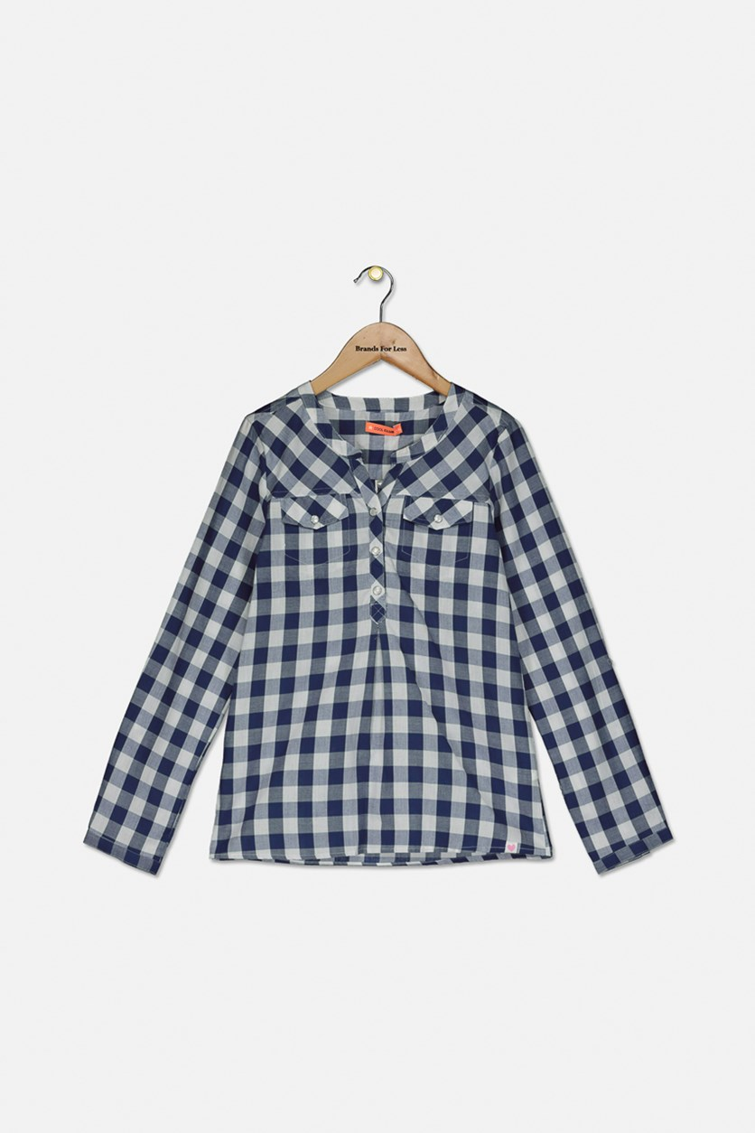 Girls Checkered Front Pocket Top, Blue/White