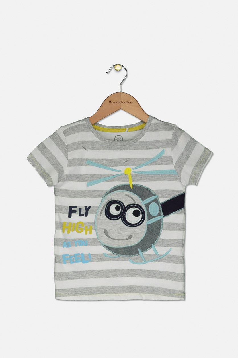 Toddler Girl's Stripe Helicopter Embroidered Tee, Grey/White Combo