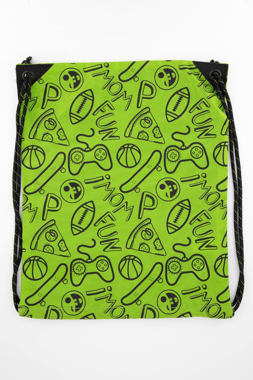 Kids Boys Graphic Print Bag, Green